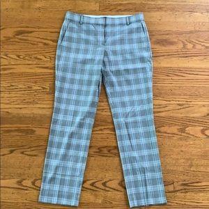 Theory Gray Plaid Straight Leg Trouser Size 6
